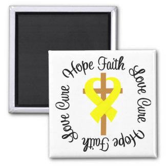 Sarcoma Faith Hope Love Cross 2 Inch Square Magnet