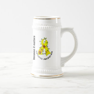 SARCOMA Flower Ribbon 3 Beer Stein