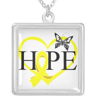 Sarcoma Hope Butterfly Heart Décor Square Pendant Necklace