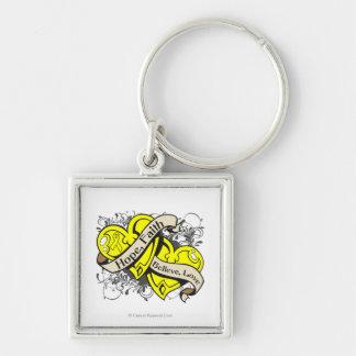 Sarcoma Hope Faith Dual Hearts Silver-Colored Square Keychain
