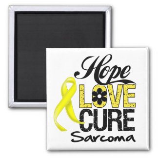 Sarcoma Hope Love Cure 2 Inch Square Magnet