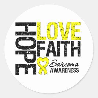 Sarcoma Hope Love Faith Classic Round Sticker
