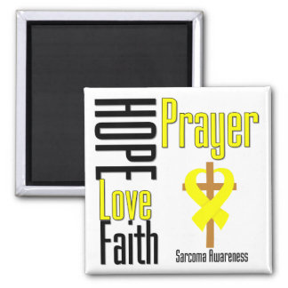 Sarcoma Hope Love Faith Prayer Cross 2 Inch Square Magnet