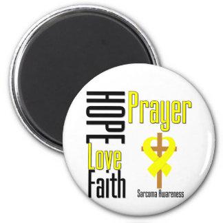 Sarcoma Hope Love Faith Prayer Cross 2 Inch Round Magnet