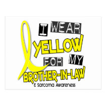 Sarcoma I WEAR YELLOW FOR MY BROTHER-IN-LAW 37 Postcard