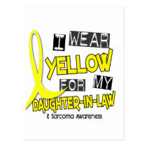 Sarcoma I WEAR YELLOW FOR MY DAUGHTER-IN-LAW 37 Postcard