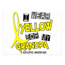 Sarcoma I WEAR YELLOW FOR MY GRANDPA 37 Postcard