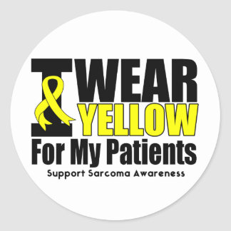 Sarcoma I Wear Yellow Ribbon For My Patients Classic Round Sticker