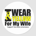 Sarcoma I Wear Yellow Ribbon  For My Wife Classic Round Sticker