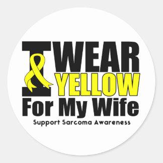 Sarcoma I Wear Yellow Ribbon  For My Wife Classic Round Sticker