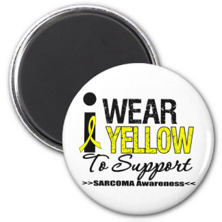 Sarcoma I Wear Yellow Ribbon To Support Awareness 2 Inch Round Magnet