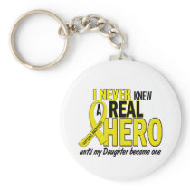 Sarcoma NEVER KNEW A HERO 2 Daughter Keychain