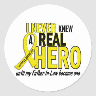 Sarcoma NEVER KNEW A HERO 2 Father-In-Law Classic Round Sticker