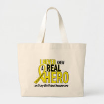 Sarcoma NEVER KNEW A HERO 2 Girlfriend Large Tote Bag
