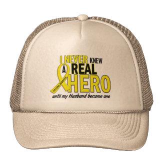 Sarcoma NEVER KNEW A HERO 2 Husband Trucker Hat