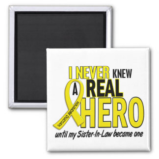 Sarcoma NEVER KNEW A HERO 2 Sister-In-Law 2 Inch Square Magnet