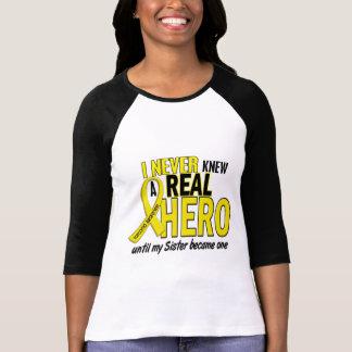 Sarcoma NEVER KNEW A HERO 2 Sister Tee Shirts