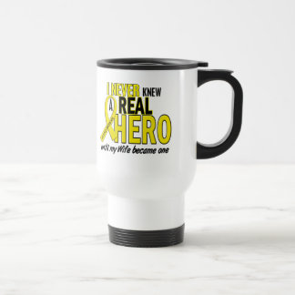 Sarcoma NEVER KNEW A HERO 2 Wife 15 Oz Stainless Steel Travel Mug