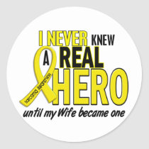 Sarcoma NEVER KNEW A HERO 2 Wife Classic Round Sticker