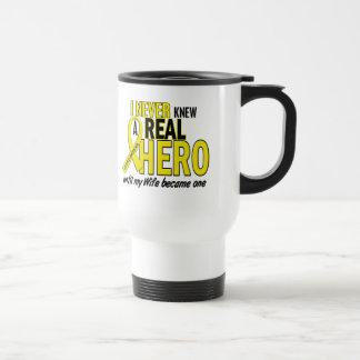 Sarcoma NEVER KNEW A HERO 2 Wife 15 Oz Stainless Steel Travel Mug