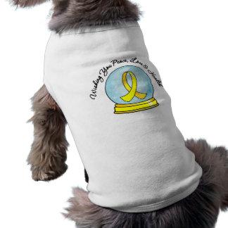 Sarcoma Ribbon Merry Christmas Snowglobe Doggie Tee Shirt