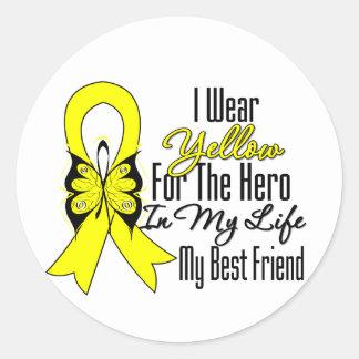 Sarcoma Ribbon My Hero My Best Friend Classic Round Sticker