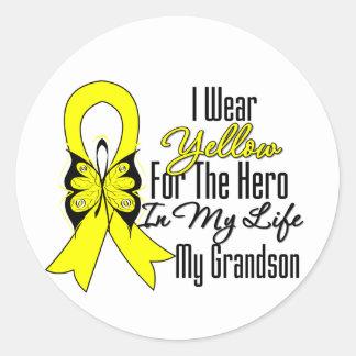 Sarcoma Ribbon My Hero My Grandson Classic Round Sticker