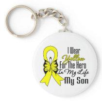 Sarcoma Ribbon My Hero My Son Keychain