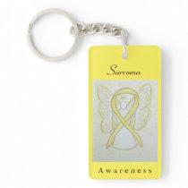Sarcoma Yellow Awareness Ribbon Angel Key Chain