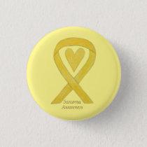 Sarcoma Yellow Heart Awareness Ribbon Custom Pin