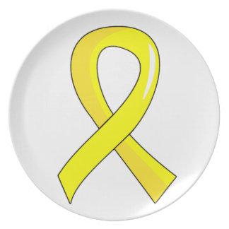 Sarcoma Yellow Ribbon 3 Dinner Plate