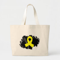 Sarcoma Yellow Ribbon With Scribble Large Tote Bag