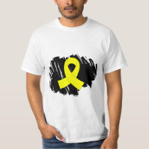 Sarcoma Yellow Ribbon With Scribble T-Shirt