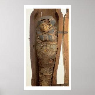 Sarcophagus and mummified body of Psametik I (664- Poster