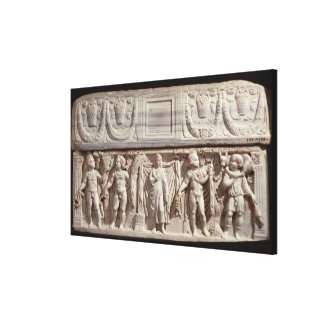 Sarcophagus depicting the deceased canvas print