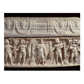 Sarcophagus depicting the deceased postcard