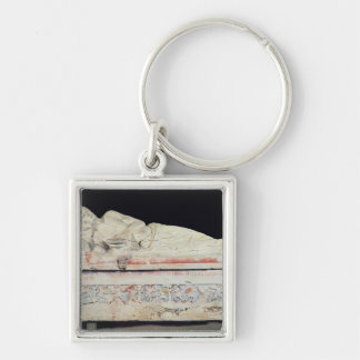 Sarcophagus, Etruscan Silver-Colored Square Keychain