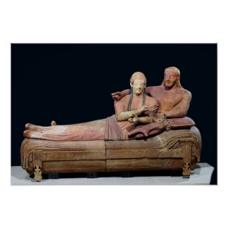 Sarcophagus of a married couple, 525-500 BC Poster