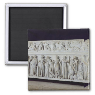 Sarcophagus with frieze of the Nine Muses 2 Inch Square Magnet