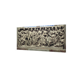 Sarcophagus with relief depicting Prometheus and t Canvas Print