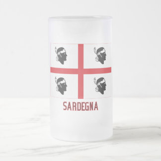 Sardegna flag with name frosted glass beer mug
