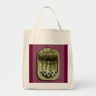 sardinas en el rosa bolsa tela para la compra