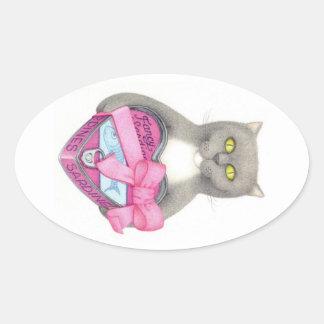 Sardine Kitty Oval Sticker