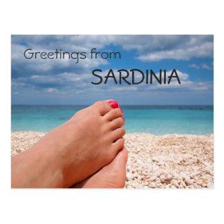 Sardinia beach greetings text postcard
