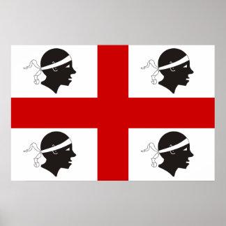 Sardinia, Italy flag Print