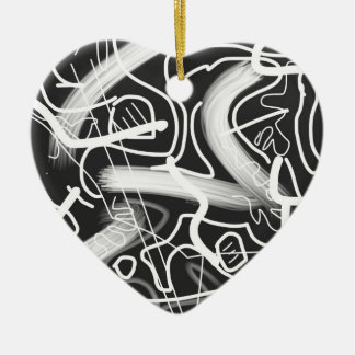 """Sardonic"" Bold Energetic Scribble Pattern Double-Sided Heart Ceramic Christmas Ornament"