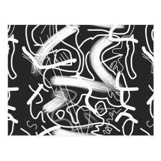 """Sardonic"" Bold Energetic Scribble Pattern Postcard"