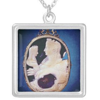 Sardonyx Cameo bearing the profile of Livia Silver Plated Necklace