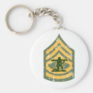 Sargent First Class - Military Patch Basic Round Button Keychain
