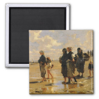 Sargent: Fishing for Oysters 2 Inch Square Magnet